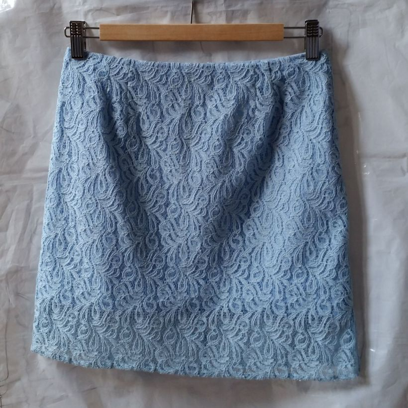 Pastel Blue Lace Pencil Skirt